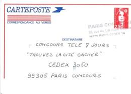 Paris Concours - 75675 Paris Cedex 14 - Griffe Sur Carteposte 1993 - Marcophilie (Lettres)