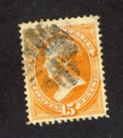 United States U Stamp1870-71 #163-15c Webster Yellow-Orange Cat. Value = $160.00 - 1847-99 Emissions Générales