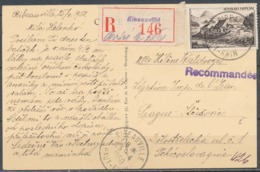 FRANCE - 25.4.1950, Reco Postcard From RIBEAUVILLE (Haut-Rhin) To Tchecoslovaquie - Marcophilie (Lettres)