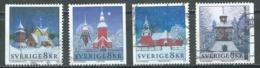 Suède YT N°2304/2307 Noel 2002 Eglise à Noel Oblitéré ° - Suède