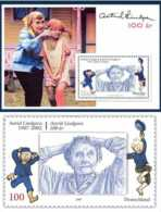 2007 Astrid Lindgren - Joint Issue Of Sweden And Germany - Both Countries - MS And 1 V - Paper - MNH** - Gemeinschaftsausgaben