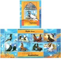 Uzbekistan 2005 . Doves. M/S Of 8v +S/S; 2x(85,100,125,155)+210     Michel # 569-76 + BL 37 - Uzbekistan