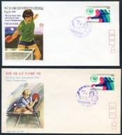 COREE SUD 1982 - SEOUL - Lot De 2 Enveloppes FDC + Cachet / Postmark - Tennis Table Tischtennis Tavolo - Table Tennis