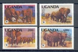 Mpc116s WWF FAUNA ZOOGDIEREN OLIFANTEN AFRICAN ELEPHANTS ELEFANTEN MAMMALS  UGANDA 1991 ONG/MH - W.W.F.