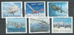 Suède YT N°2232/2237 Avions D'hier Et D'aujourd'hui Oblitéré ° - Suède