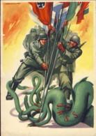 1942-Antibolscevismo Tripartito E Piovra URSS Cartolina In Franchigia Dis.Casolare Viaggiata - War 1939-45