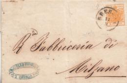 222 - LOMBARDO VENETO - 10 Settembre 1856  - Lettera Circolare Stampata Da Brescia A Milzano Con Cent 5 Arancio - Lombardo-Veneto