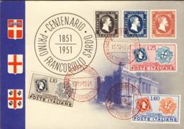 """1951-""""1851-1951 Centenario I Francobollo Sardo""""affrancata Con S.3v.""""francobolli Di Sardegna""""in Corso Particolare - Sellos (representaciones)"""