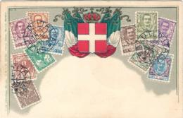 """1905- """"saluti D'Italia Francobolli E Stemma In Rilievo"""" - Sellos (representaciones)"""