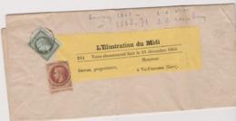 Napoleon Vert Olive 1 C ( Emision 1862 )+ Napoleon 2c Rouge Brun ( Emision 1863/71) Sur Bande De Journal - Marcophilie (Lettres)