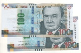 PERU   (error Notes) 2 X 100 Soles (Mismatched Serial Nr.  .....467L & 457L & 468L  & 458L  ) 19.2.2015 Pnew UNC - Peru