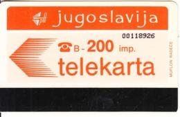 YUGOSLAVIA - Telecom Logo 200 Units(muflon Radece)(PTT Zagreb Advertisement On Reverse), CN:8 Digits, Tirage 20000, Used - Joegoslavië