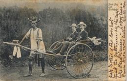 1908 SUDAFRICA , TARJETA POSTAL  CIRCULADA , PORT ELIZABETH - ZULU BOY AND RICKSHAV - Postales