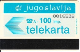 YUGOSLAVIA - Telecom Logo 100 Units(muflon Radece)(PTT Zagreb Advertisement On Reverse), CN:7 Digits, Tirage 15000, Used - Joegoslavië