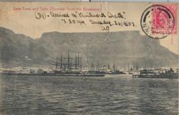 1907 SUDAFRICA , TARJETA POSTAL  CIRCULADA - CAPE TOWN AND TABLE MOUNTAIN FROM THE BREAKWATER , BARCOS , SHIP , PUERTO - Otros