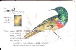 ZAMBIA(chip) - Collared Sunbird, Zamtel Telecard K10000, Chip GEM3.3, Used - Zambia