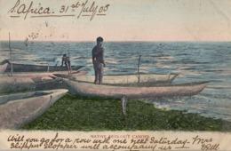 1905 SUDAFRICA , TARJETA POSTAL  CIRCULADA - PORT ELIZABETH , NATIVE DUG - OUT CANOES , CANOA , EMBARCACIÓN - Hausboote