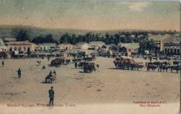 1907 SUDAFRICA , TARJETA POSTAL  CIRCULADA - UITENHAGE , MARKET SQUARE , KING WILLIAMS TOWN , MERCADO , GANADO - Mercados