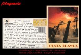 EUROPA. ESPAÑA. ENTEROS POSTALES. TARJETA POSTAL CIRCULADA 1990. TORRE VIEJA. ESPAÑA-BOGOTÁ. COLOMBIA - 1931-Hoy: 2ª República - ... Juan Carlos I
