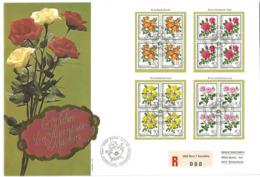 "GG - Enveloppe Suisse Avec Timbres ""Roses"" Oblit Spéciale 1er Jour 1977 - Rosen"