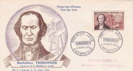 1013 De 1955 - Enveloppe 1er Jour  - Barthélémy Thimonnier (1793-1857) Inventeur De La Machine à Coudre - 1950-1959