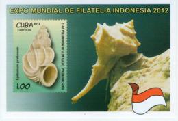 Lote CU2012-5H, Cuba, 2012, HF, SS, World Expo Indonesia, Filatelia, Caracoles, Snails, Flag - Cuba