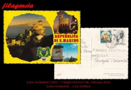 EUROPA. SAN MARINO. ENTEROS POSTALES. TARJETA POSTAL CIRCULADA 1983. SAN MARINO-COLOMBIA. CON FRANQUEO SAN MARINO-ITALIA - San Marino