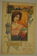 Illustrateur F G Femme Le Soir Art Nouveau Tres Belle Cpa - Andere Illustrators