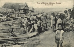 British North Borneo, SABAH, Native Children Bahau Tribe (1910s) Postcard (1) - Malaysia