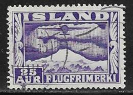 Iceland Scott # C17a Used Plane Over Aurora, 1934, CV$35.00 - Airmail