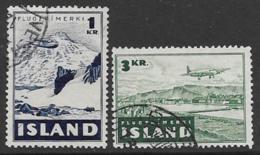 Iceland Scott # C24,26 Used Mountain, Rykjavik, 1947 - Airmail