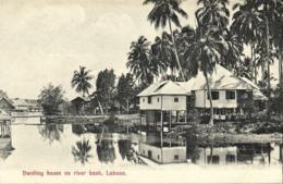 Malay Malaysia, LABUAN BORNEO, Dwelling Houses On River Bank (1910s) Postcard - Malaysia