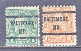 U.S. 581, 587   Perf. 10   (o)   MARYLAND    1923-26  Issue - Precancels