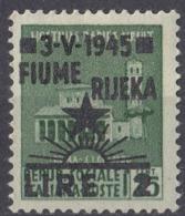 FIUME - 1945 - Unificato 14, Nuovo MH. - Fiume & Kupa