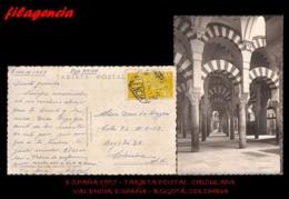 EUROPA. ESPAÑA. ENTEROS POSTALES. TARJETA POSTAL CIRCULADA 1957. VALENCIA. ESPAÑA-BOGOTÁ. COLOMBIA. AVIACIÓN - 1951-60 Briefe U. Dokumente