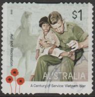 AUSTRALIA - DIE-CUT-USED 2016 $1.00 A Century Of Service - Vietnam War - Aid And Recreation - Soldier And Child - 2010-... Elizabeth II