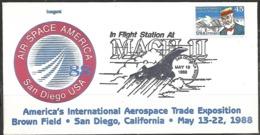 US  1988   Mach II In Flight Station Trade Expo Cover  Concorde Cancel - Concorde