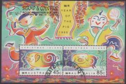 CHRISTMAS ISLAND -USED 1995 Year Of The Pig Souvenir Sheet- Overprinted Stamp & Coin Fair - Christmas Island