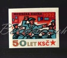 L1-272 CZECHOSLOVAKIA 1971 Communist Party Of CSSR - 50 Years History 1932 Most Miners' Strike - Zündholzschachteletiketten