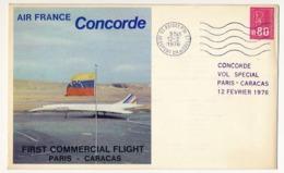 FRANCE - CONCORDE - Vol Spécial Paris => Caracas 12/2/1976 - Premier Vol Commercial - Concorde