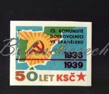 L1-274 CZECHOSLOVAKIA 1971 Communist Party Of CSSR - 50 Years History 1936-39 Volunteers In Spain Spanish Civil War - Zündholzschachteletiketten