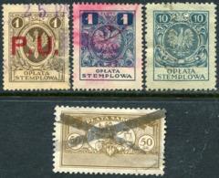 Poland 1924-1945 Revenue Stamps Selection Fiscal Tax Stempelmarken Gebührenmarken Polen Pologne - Fiscaux
