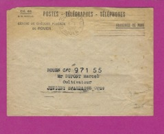 FRANCE Lettre CHEQUE POSTAUX ROUEN 1950 - Marcophilie (Lettres)