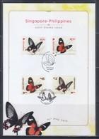 Singapore 2019 Joint Issue With Philippines, Butterflies Commemorative Sheet - Gemeinschaftsausgaben