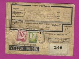 FRANCE Bordereau Colis Postaux Pour Moutiers Salins Savoie - Lettres & Documents