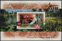 "AUSTRALIA - USED 1997 $10.00 Wetlands Souvenir Sheet, Overprinted ""Italia '98"" - 1990-99 Elizabeth II"