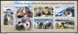 """TAAF, N° 566 à N° 570** Y Et T, BF N° 23**, Bloc-feuillet """"Faune Antarctique"""" - Blocs-feuillets"""