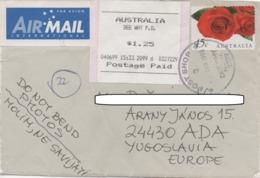 Australia 1999, Air Mail To Croatia, Rose - 1990-99 Elizabeth II