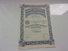 SCHISTES ET DERIVES (100 Francs,categorie A) 1933 - Actions & Titres