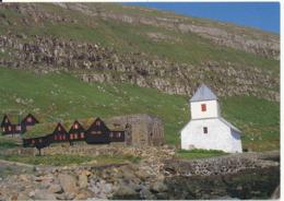 Faroe Islands Postcard Sent To Denmark 19-7-1988 (Kirkjubör The Old Bishopric Of The Faroe Islands) - Faroe Islands